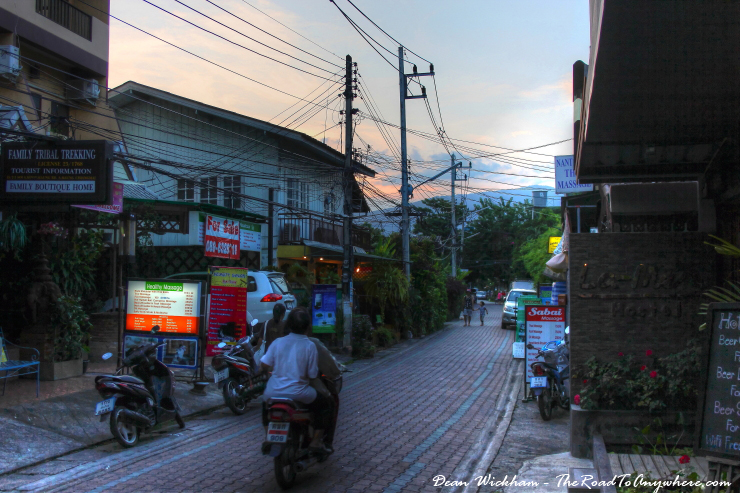 View of a quiet street in Chiang Mai, Thailand