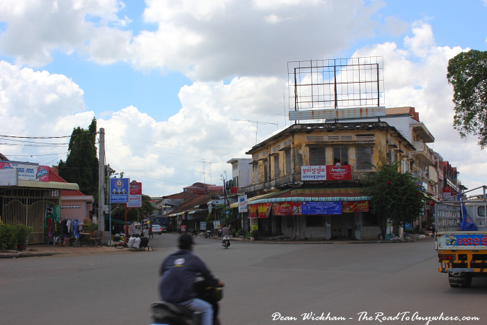 Quiet intersection in Kampong Cham, Cambodia