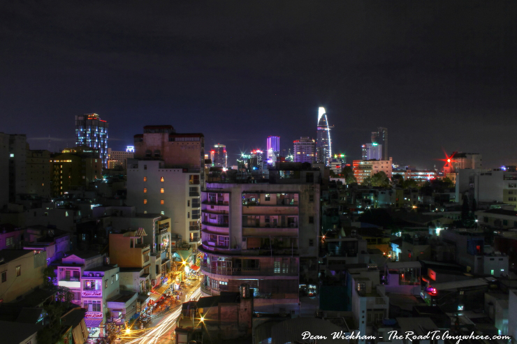Skyline at night in Saigon, Vietnam
