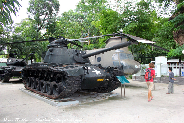 Tank and Helicopter at the War Remnants Museum in Saigon, Vietnam