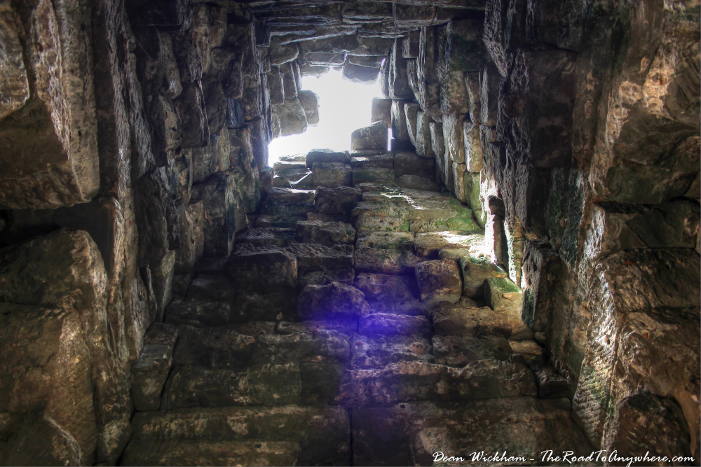 Inside an ancient tower at Ta Som in Angkor, Cambodia