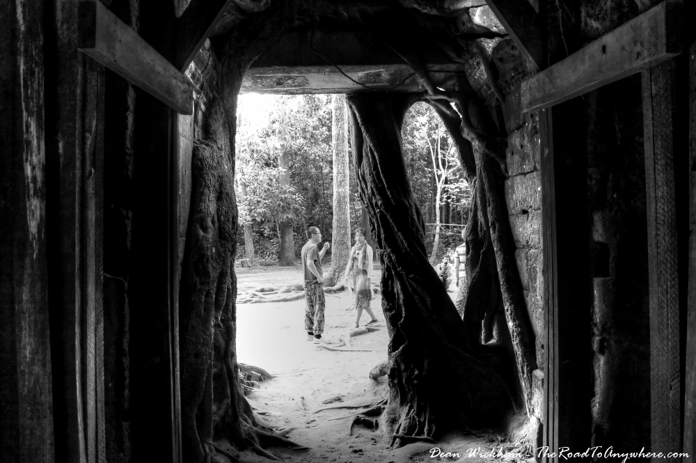 Inside an ancient gate at Ta Som in Angkor, Cambodia
