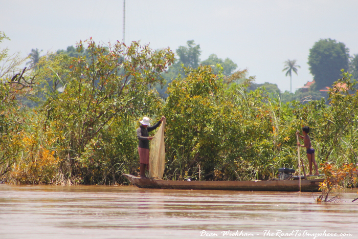 Fishermen on the Mekong River in Cambodia