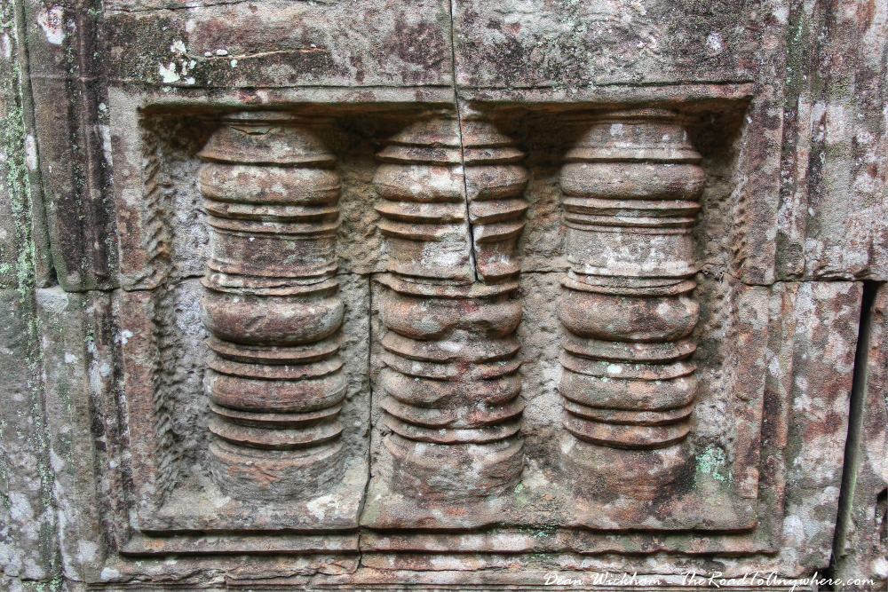 Detailed stone carvings at Bayon in Angkor Thom, Cambodia
