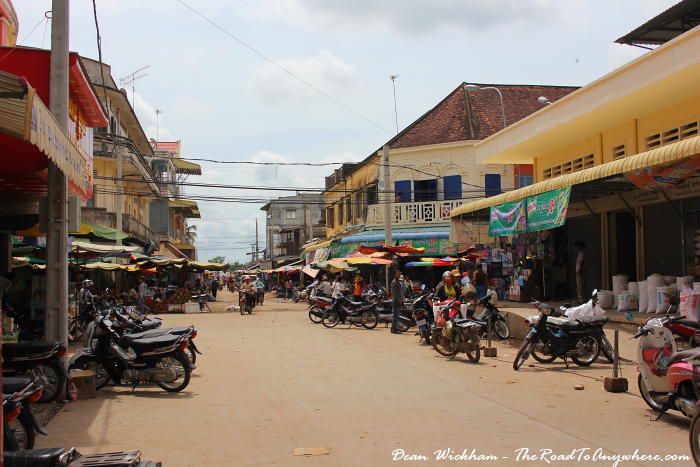 Street at the central market in Kratie, Cambodia