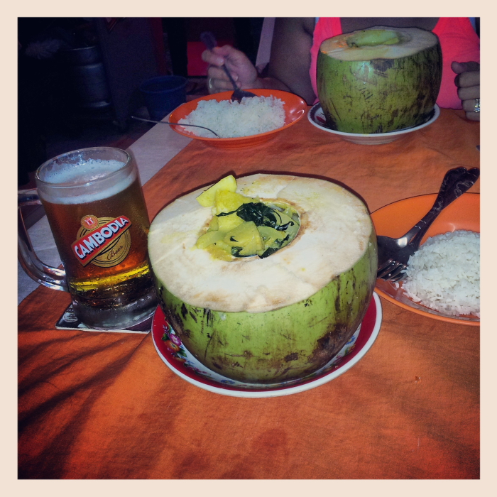 Chicken Amok served in a coconut in Siem Reap, Cambodia