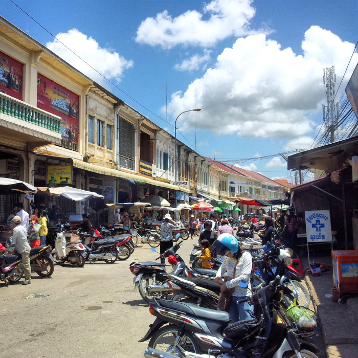 Busy market street in Kampong Cham, Cambodia