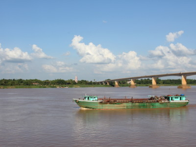 Boat on the Mekong River in Kampong Cham, Cambodia