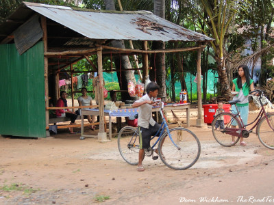Kids on bicycles in Cambodia