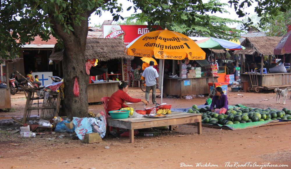Ladies selling their produce on the side of the road in Cambodia