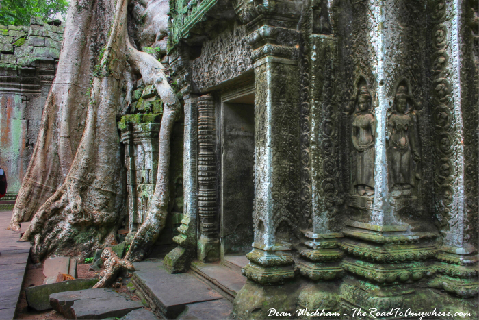 Carved doorway at Ta Phrom in Angkor, Cambodia