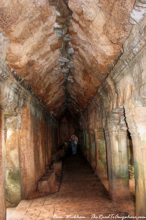 An ancient hallway at Ta Phrom in Angkor, Cambodia