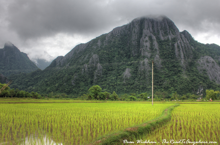 Cloud covered mountains in Vang Vieng, Laos