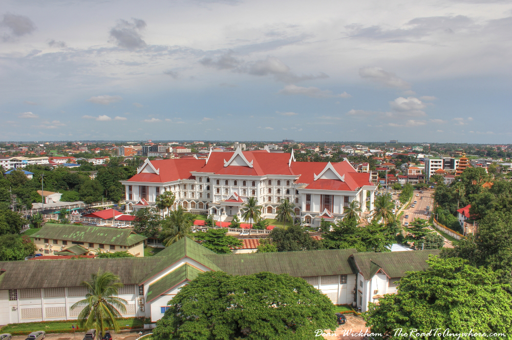 View of a government building from Patuxai in Vientiane, Laos
