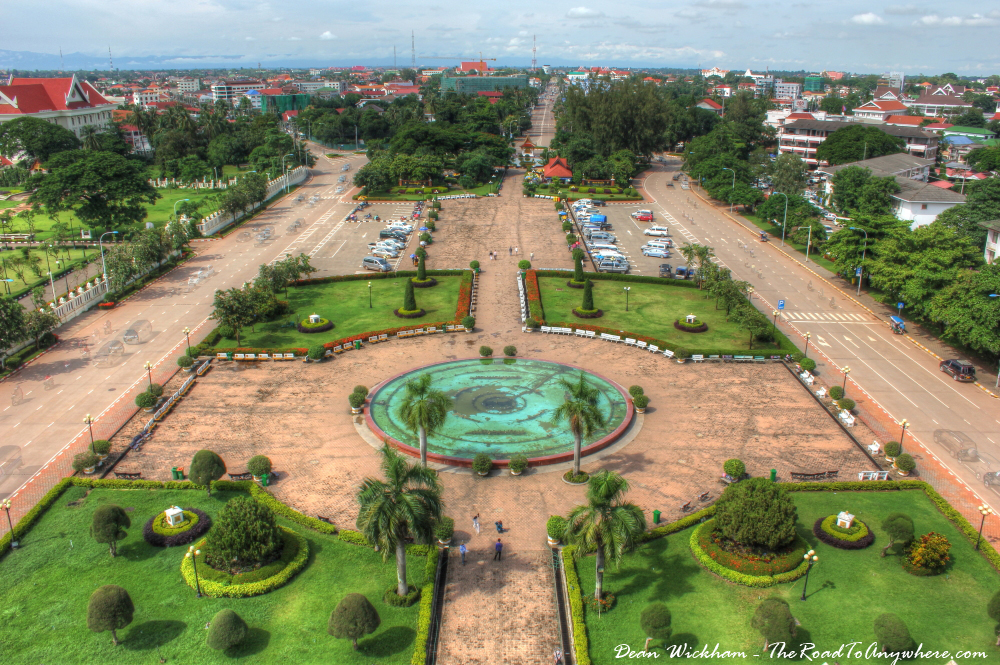 View of parkland from Patuxai in Vientiane, Laos
