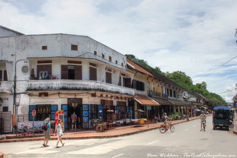 Tourists wander the main street in Luang Prabang, Laos