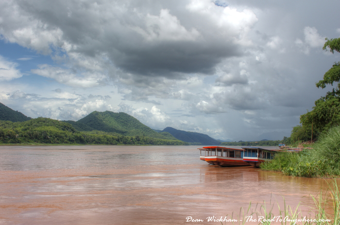 Storm clouds on the Mekong River in Luang Prabang, Laos