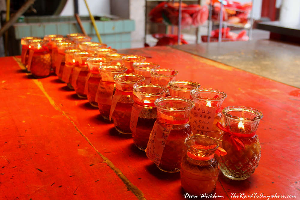 Candles inside the Goddess of Mercy Temple in Chinatown, Penang, Malaysia