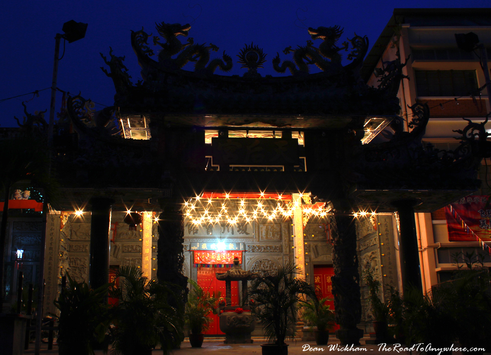 A Chinese Temple sparkling in the night in Chinatown, Penang, Malaysia