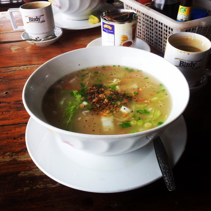 Rice soup and Lao coffee in Si Phan Don, Laos