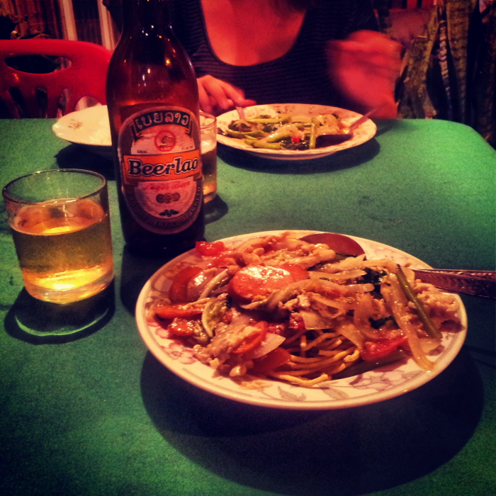 Crispy noodles and Beer Lao in Vientiane, Laos