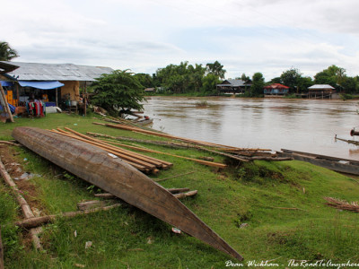 Boating building on Don Khone in Si Phan Don, Laos