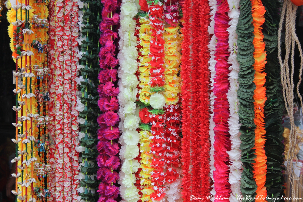 Colourful flowers in Little India in George Town, Penang, Malaysia