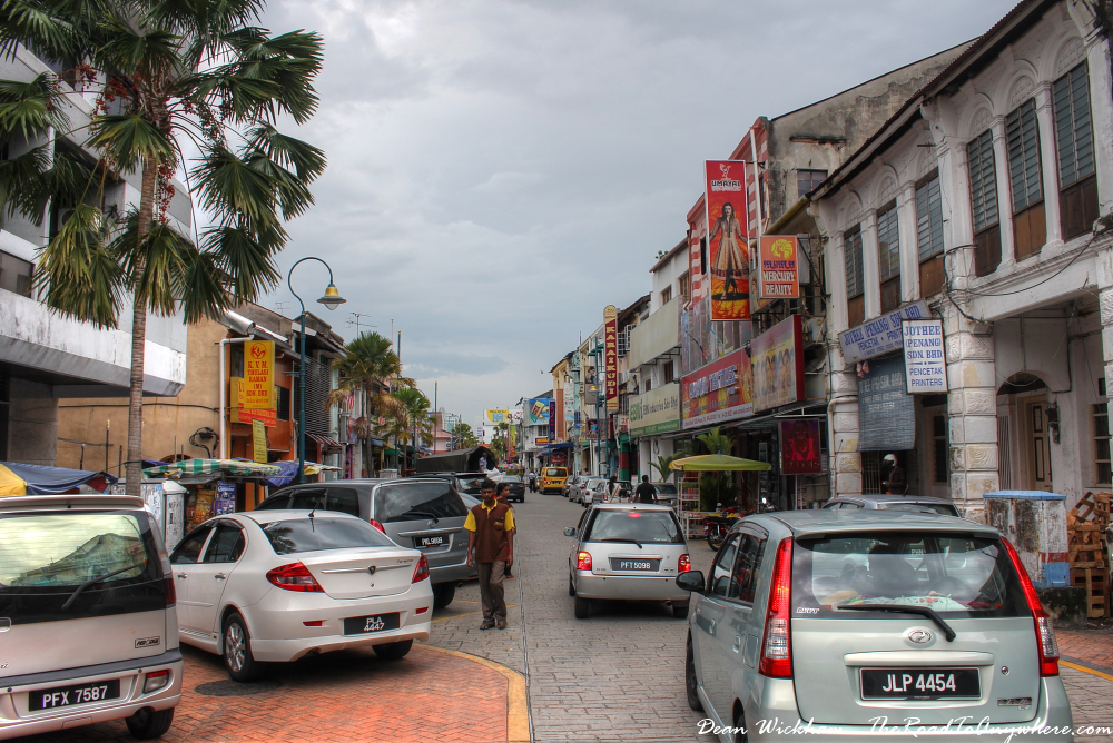 Busy street in Little India in George Town, Penang, Malaysia