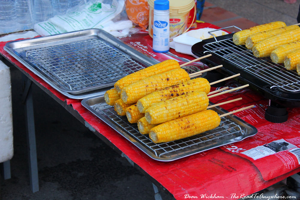 Grilled corn cobs at the Sunday Market in Chiang Mai, Thailand