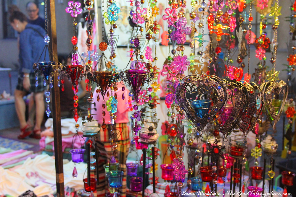Hanging glass ornaments at the Sunday Market in Chiang Mai, Thailand