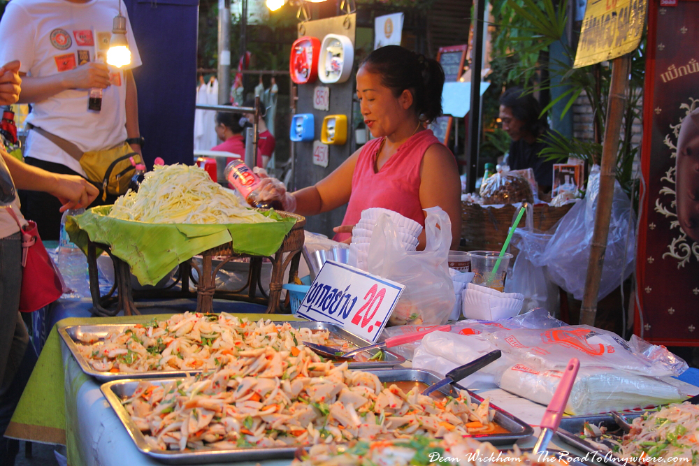 Street food at the Sunday Market in Chiang Mai, Thailand