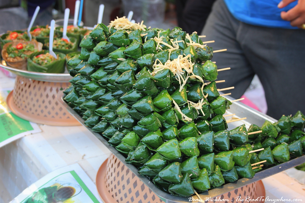 Street food skewers at the Sunday Market in Chiang Mai, Thailand