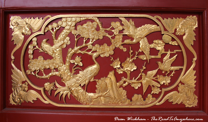 Wall decoration at the Goddess of Mercy Temple in Penang, Malaysia