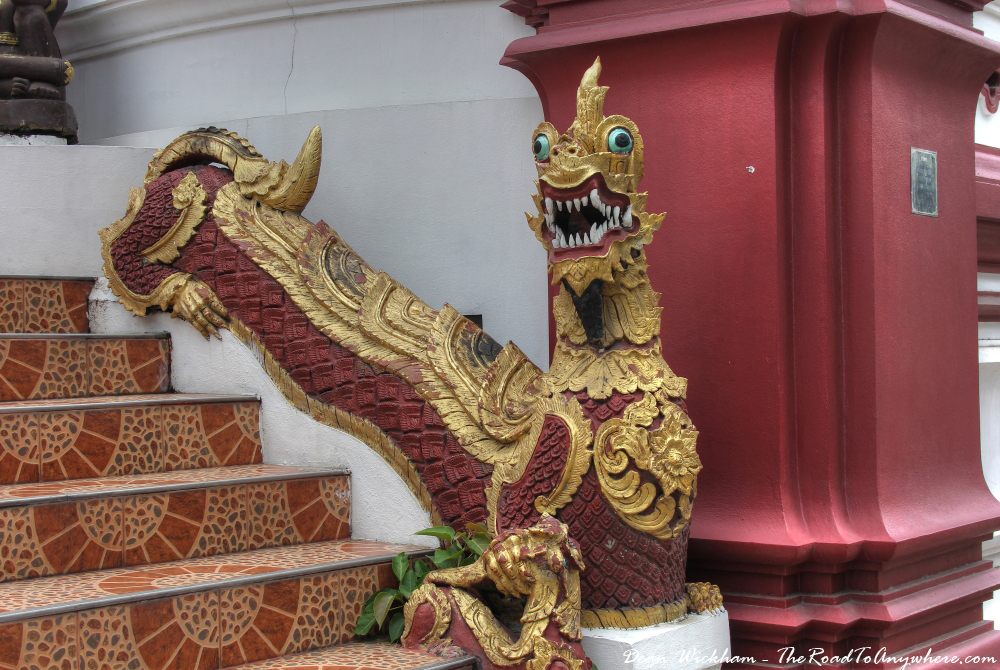 Naga on the stairs at Wat Monthian in Chiang Mai, Thailand