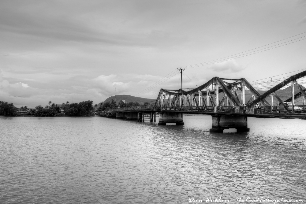 Bridge across the river in Kampot, Cambodia