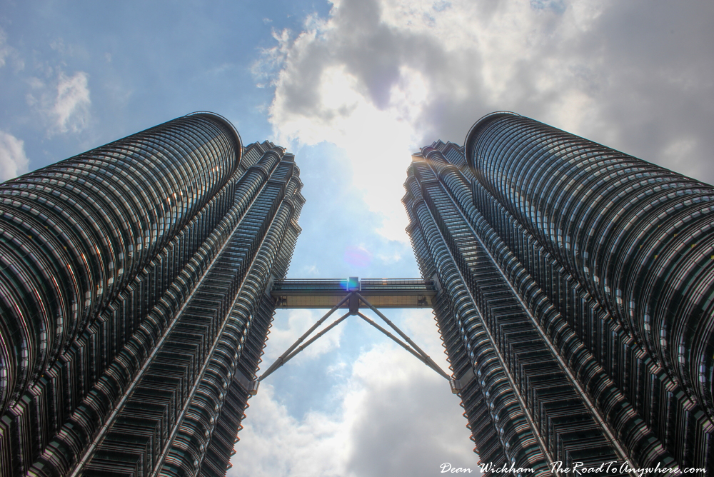View to the top of the Petronas Towers in Kuala Lumpur, Malaysia