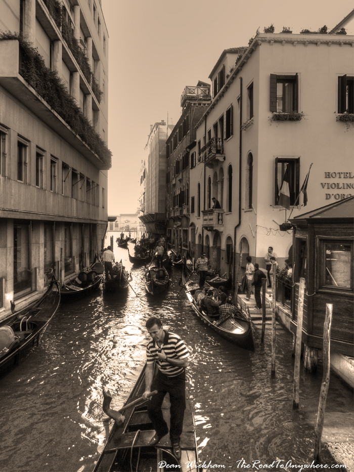 Crowded Canal in Venice, Italy