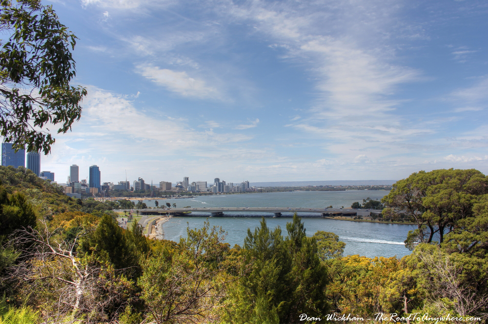 View of the Swan River to Perth City in Kings Park in Perth, Western Australia