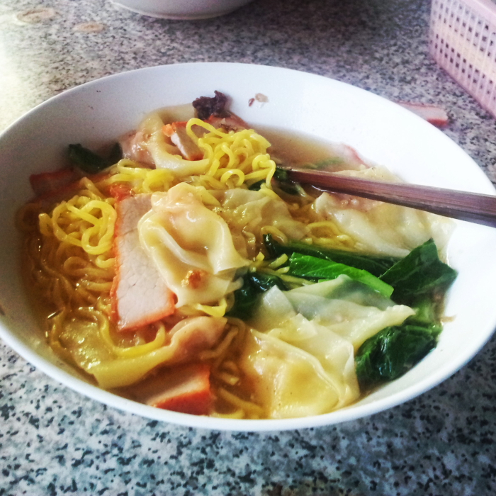 Wonton Noodle Soup in Chiang Mai, Thailand