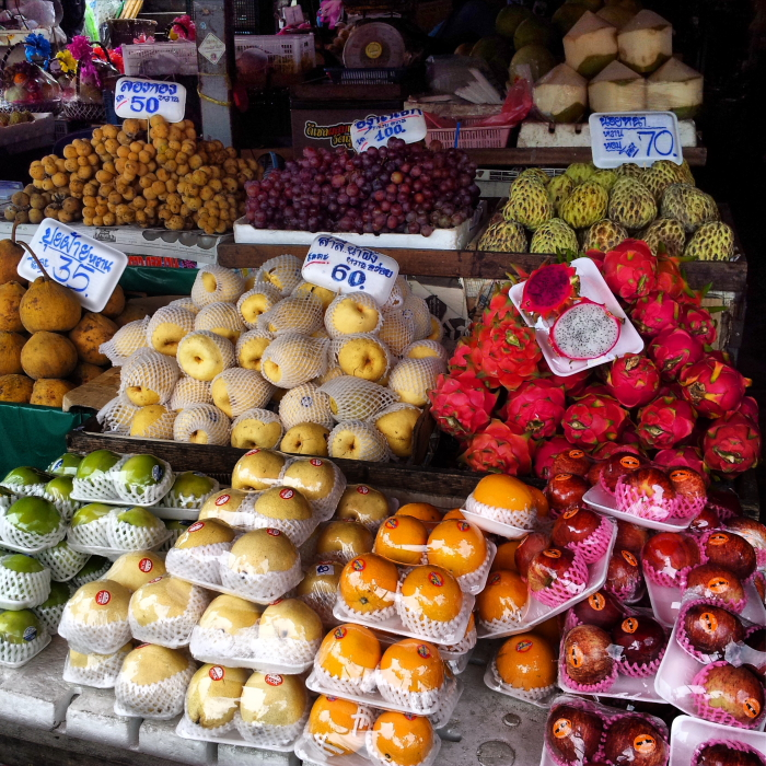 Fresh fruit for sale at Wararot Market in Chiang Mai, Thailand