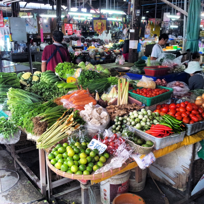 Fresh vegetables at Somphit Market in Chiang Mai, Thailand