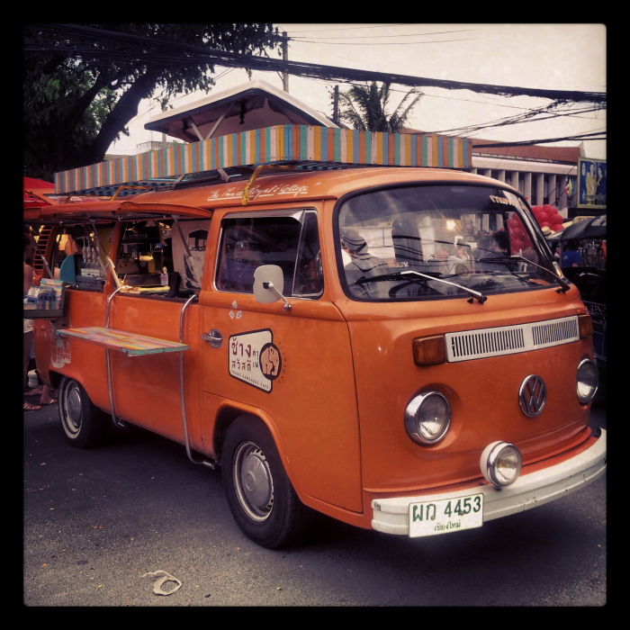 Kombi van coffee stall at Sunday Market in Chiang Mai, Thailand