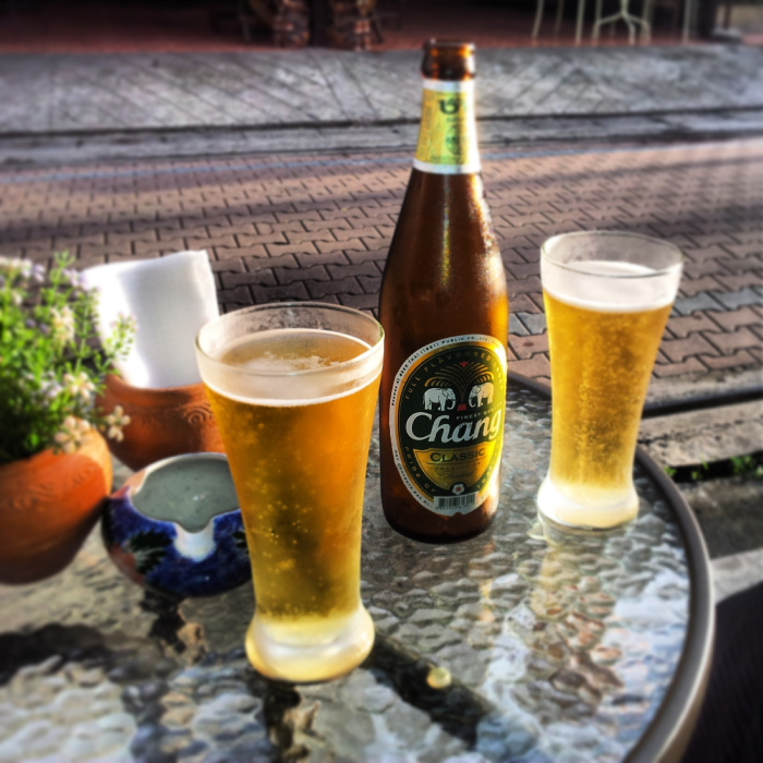 Having a beer in Chiang Mai, Thailand