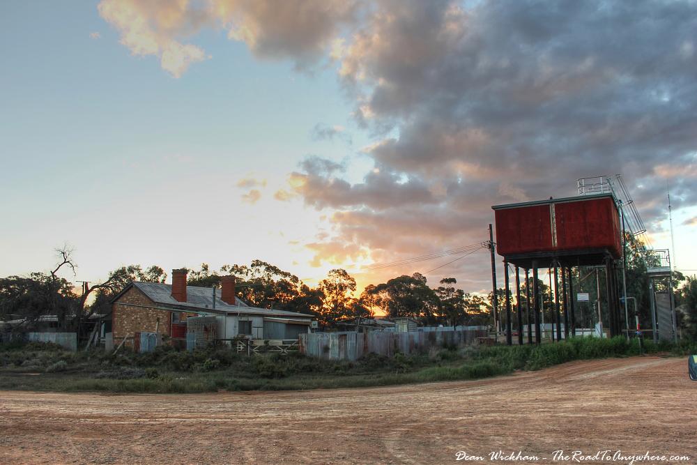 An old house at sunset in Yunta, South Australia