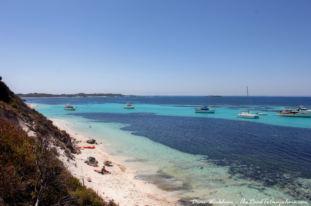 Beach and boats at Henrietta Rocks on Rottnest Island, Western Australia