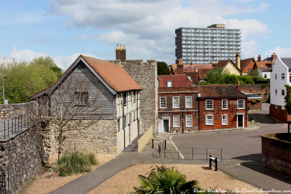 View of old buildings from the city walls in Southampton, England