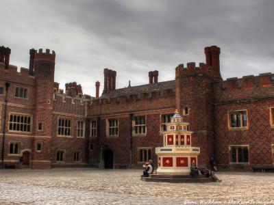 Courtyard inside Hampton Court Palace, England