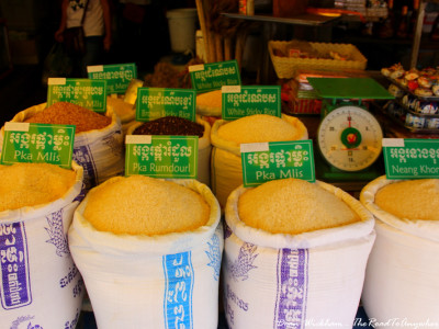 Bags of Rice at the Central Market in Siem Reap, Cambodia