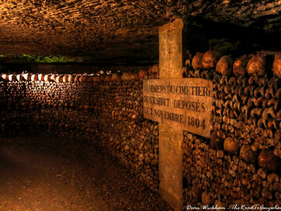 Wall of bones in the Catacombs of Paris