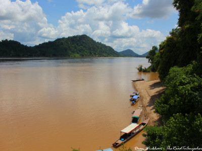 Boats on the Mekong River on Don Khone, Laos